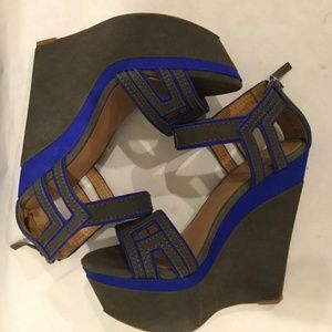 L.A.M.B. Blue and Grey Iva Sandals Wedges
